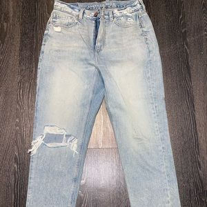 Light Washed Distressed Jeans- Size 10 Short
